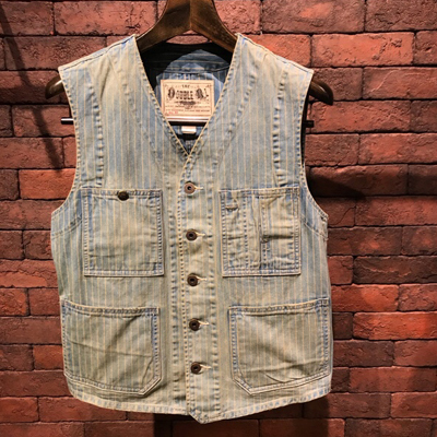 【INDIGO STRIPED TWILL VEST】 MNRROTWIN210026*307